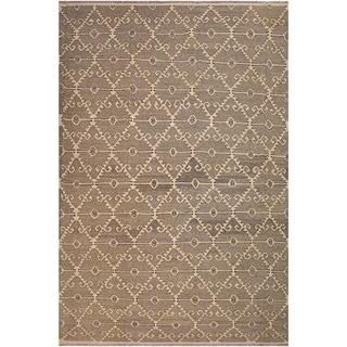 "Kilim Annett Drk. Gray/Ivory Hand-Woven Wool Rug -10'6 x 14'1 - 10'6"" x 14'1"""