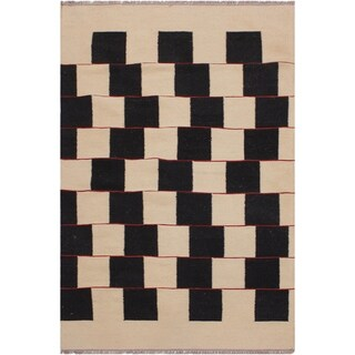 "Kilim Hildegar Ivory/Black Hand-Woven Wool Rug -3'0 x 4'11 - 3'0"" x 4'11"""