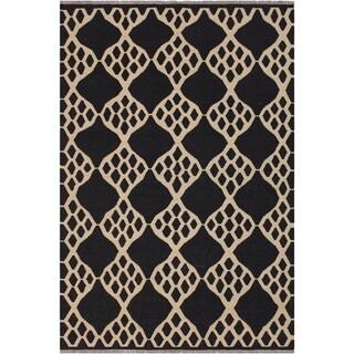 "Kilim Margarit Black/Ivory Hand-Woven Wool Rug -5'11 x 7'8 - 5'11"" x 7'8"""