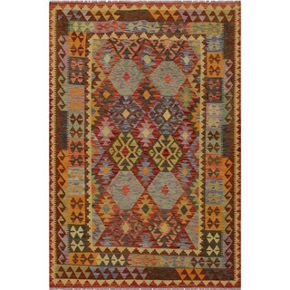 "Kilim Sherwood Rust/Blue Hand-Woven Wool Rug -5'2 x 6'6 - 5'2"" x 6'6"""