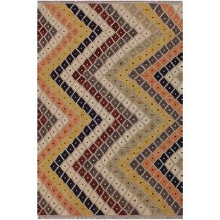 "Kilim Annika Gray/Ivory Hand-Woven Wool Rug -5'3 x 6'10 - 5'3"" x 6'10"""
