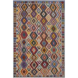 "Kilim Illyria Gray/Blue Hand-Woven Wool Rug -6'9 x 9'8 - 6'9"" x 9'8"""