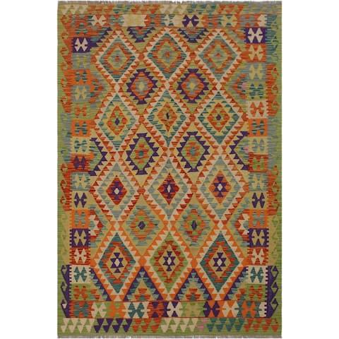 "Kilim Neoma Ivory/Green Hand-Woven Wool Rug -5'2 x 8'5 - 5'2"" x 8'5"""