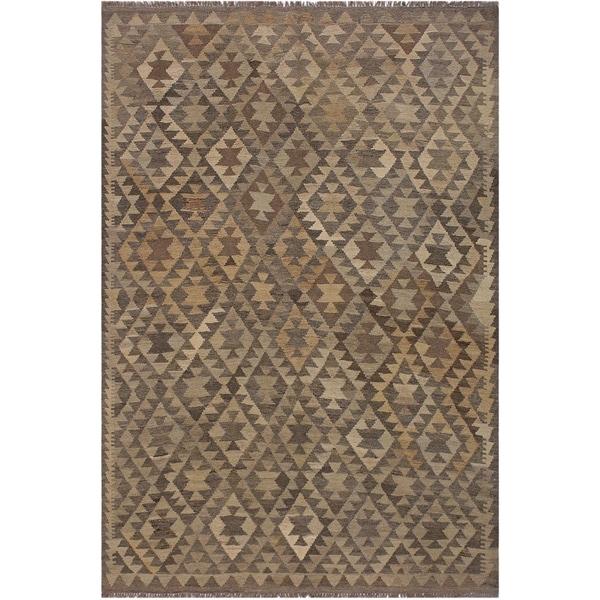 "Kilim Anibal Gray/Ivory Hand-Woven Wool Rug -5'11 x 7'7 - 5'11"" x 7'7"""