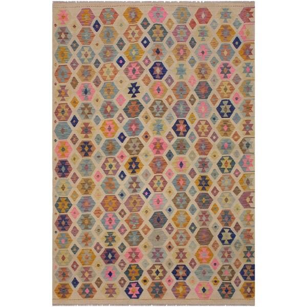 "Kilim Nathania Ivory/Blue Hand-Woven Wool Rug -5'10 x 8'5 - 5'10"" x 8'5"""