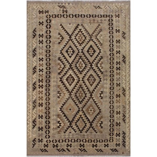 "Kilim Breanna Gray/Chocolate Hand-Woven Wool Rug -6'9 x 9'5 - 6'9"" x 9'5"""