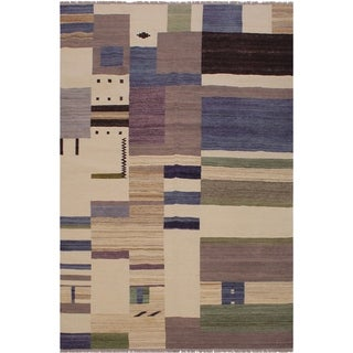 "Kilim Singleto Ivory/Blue Hand-Woven Wool Rug -6'6 x 8'0 - 6'6"" x 8'0"""
