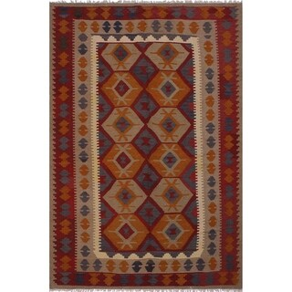 """Kilim Broderic Red/Ivory Hand-Woven Wool Rug -6'8 x 9'4 - 6'8"""" x 9'4"""""""