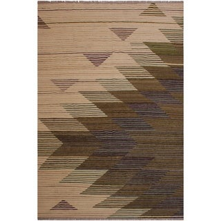 "Kilim Singleta Ivory/Brown Hand-Woven Wool Rug -6'7 x 7'11 - 6'7"" x 7'11"""