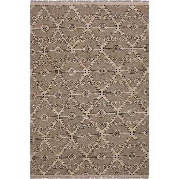 "Kilim Annalee Gray/Ivory Hand-Woven Wool Rug -5'11 x 7'10 - 5'11"" x 7'10"""
