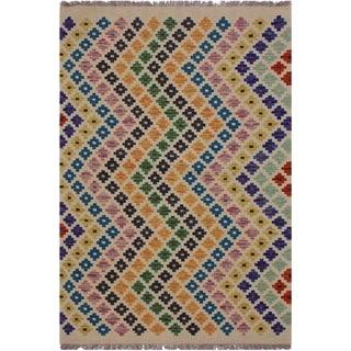 """Kilim America Ivory/Blue Hand-Woven Wool Rug -3'5 x 5'0 - 3'5"""" x 5'0"""""""