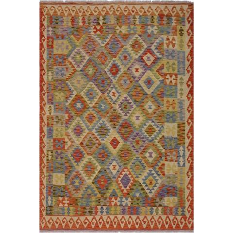 "Kilim Bobbie Rust/Gold Hand-Woven Wool Rug -5'7 x 7'11 - 5'7"" x 7'11"""
