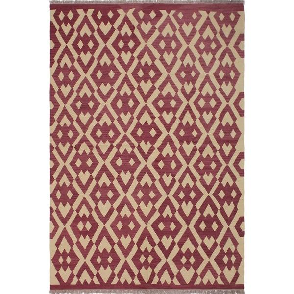 "Kilim Anjelica Pink/Ivory Hand-Woven Wool Rug -5'11 x 8'4 - 5'11"" x 8'4"""