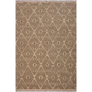 """Kilim Jackelin Gray/Tan Hand-Woven Wool Rug -8'5 x 9'11 - 8'5"""" x 9'11"""""""
