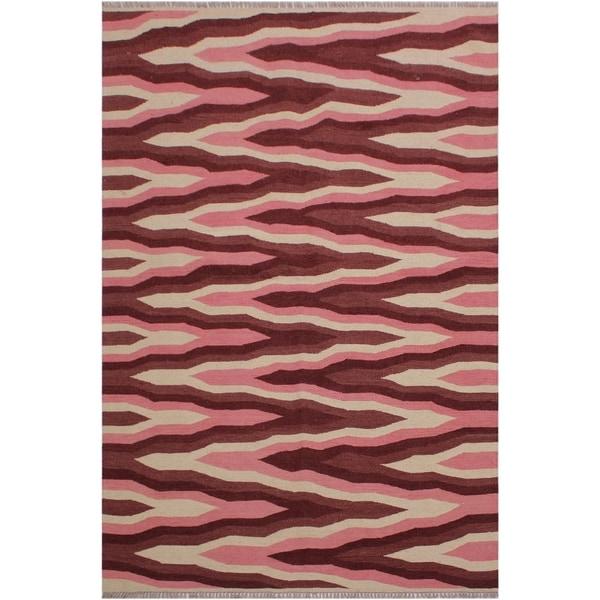 "Kilim Swartz Ivory/Pink Hand-Woven Wool Rug -4'3 x 6'1 - 4'3"" x 6'1"""