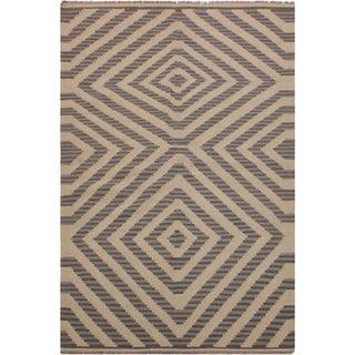 "Kilim Sadler Ivory/Grey Hand-Woven Wool Rug -4'0 x 5'11 - 4'0"" x 5'11"""