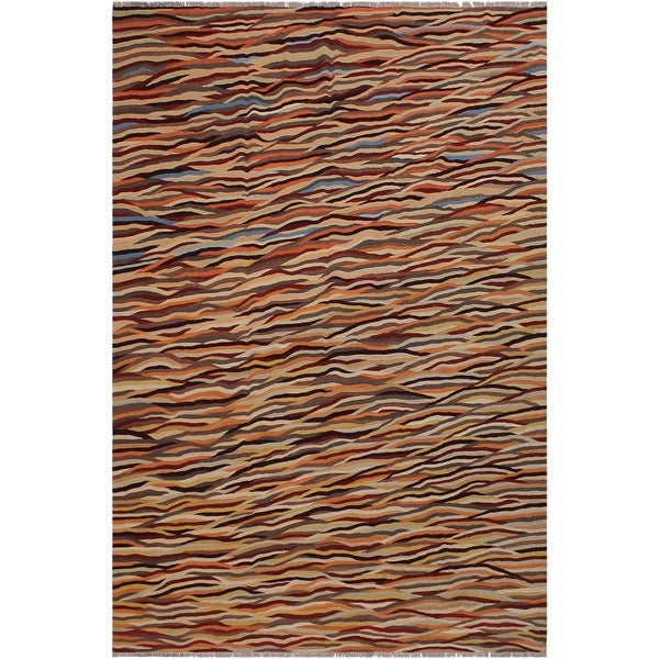 "Kilim Vance Orange/Gray Hand-Woven Wool Rug -8'3 x 9'11 - 8'3"" x 9'11"""