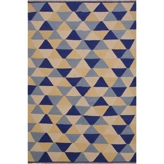 "Kilim Sumner Ivory/Blue Hand-Woven Wool Rug -5'0 x 6'9 - 5'0"" x 6'9"""