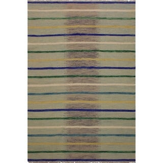 """Kilim Smothers Grey/Blue Hand-Woven Wool Rug -5'7 x 7'11 - 5'7"""" x 7'11"""""""