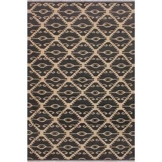 "Kilim Sanford Black/Ivory Hand-Woven Wool Rug -5'7 x 8'1 - 5'7"" x 8'1"""