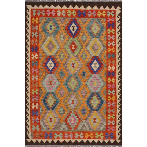 "Kilim Bruce Chocolate/Ivory Hand-Woven Wool Rug -5'6 x 7'7 - 5'6"" x 7'7"""