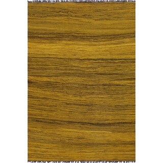 "Kilim Booker Gold/Drk. Gray Hand-Woven Wool Rug -5'8 x 7'7 - 5'8"" x 7'7"""