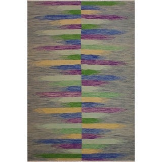 "Kilim Shore Grey/Purple Hand-Woven Wool Rug -6'8 x 9'10 - 6'8"" x 9'10"""