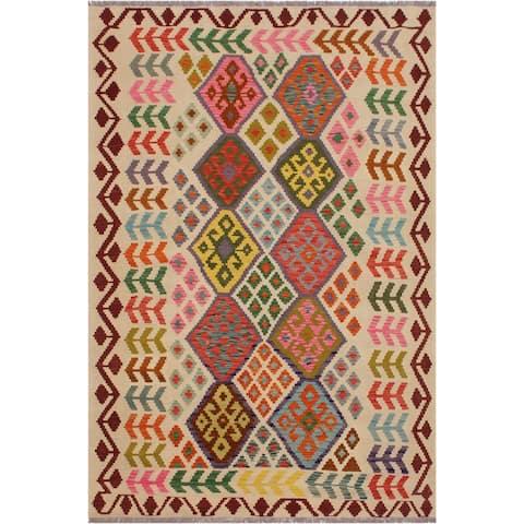 "Kilim Santos Ivory/Red Hand-Woven Wool Rug -5'9 x 7'6 - 5'9"" x 7'6"""