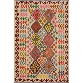 "Kilim Santos Ivory/Red Hand-Woven Wool Rug -5'9 x 7'6 - 5'9"" x 7'6"""