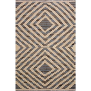 "Kilim Sykes Ivory/Grey Hand-Woven Wool Rug -6'2 x 9'2 - 6'2"" x 9'2"""