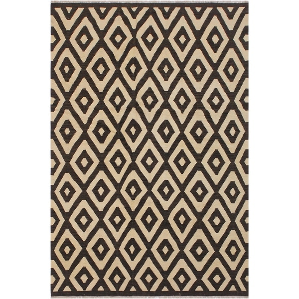 "Kilim Carman Black/Ivory Hand-Woven Wool Rug -5'10 x 7'7 - 5'10"" x 7'7"""