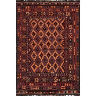 "Kilim Chance Red/Tan Hand-Woven Wool Rug -6'5 x 9'1 - 6'5"" x 9'1"""