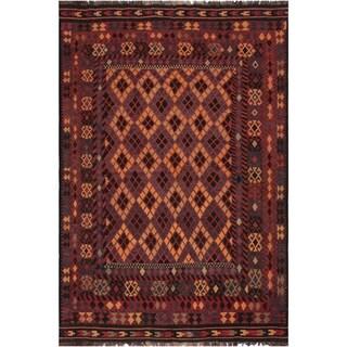 "Kilim Chance Red/Tan Hand-Woven Wool Rug -6'5 x 9'1 - 6'5"" x 9'1"""