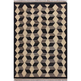 "Kilim Shipley Black/Ivory Hand-Woven Wool Rug -3'0 x 3'10 - 3'0"" x 3'10"""
