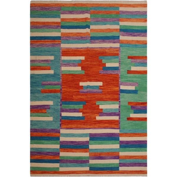 "Kilim Snead Orange/Green Hand-Woven Wool Rug -6'7 x 9'11 - 6'7"" x 9'11"""