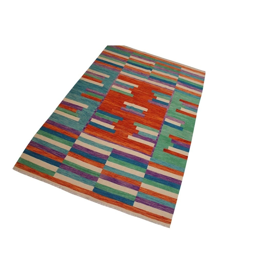 Kilim Snead Orange Green Hand Woven Wool Rug 6 7 X 9 11 6 7 X 9 11 On Sale Overstock 28003773