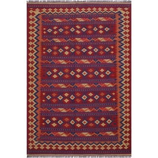 "kilim Maryloui Red/Blue Hand-Woven Wool Rug(6'3 x 9'7 - 6'3"" x 9'7"""