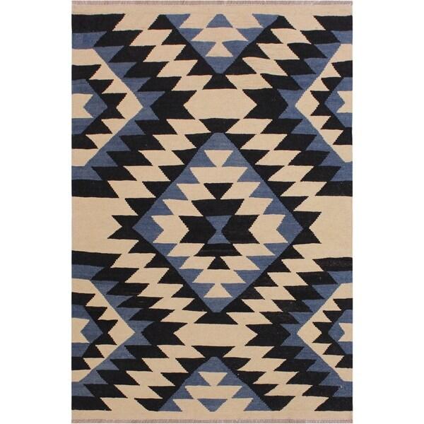 "Kilim Shorter Ivory/Black Hand-Woven Wool Rug -3'2 x 5'1 - 3'2"" x 5'1"""