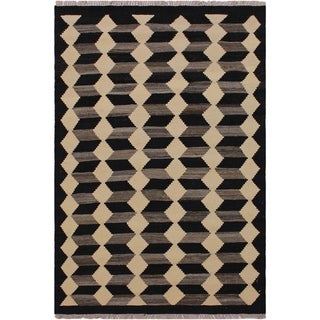 """Kilim Shuler Black/Ivory Hand-Woven Wool Rug -3'0 x 4'7 - 3'0"""" x 4'7"""""""