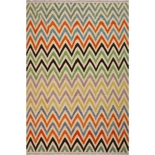 "Kilim Brenton Ivory/Black Hand-Woven Wool Rug -8'7 x 11'0 - 8'7"" x 11'0"""