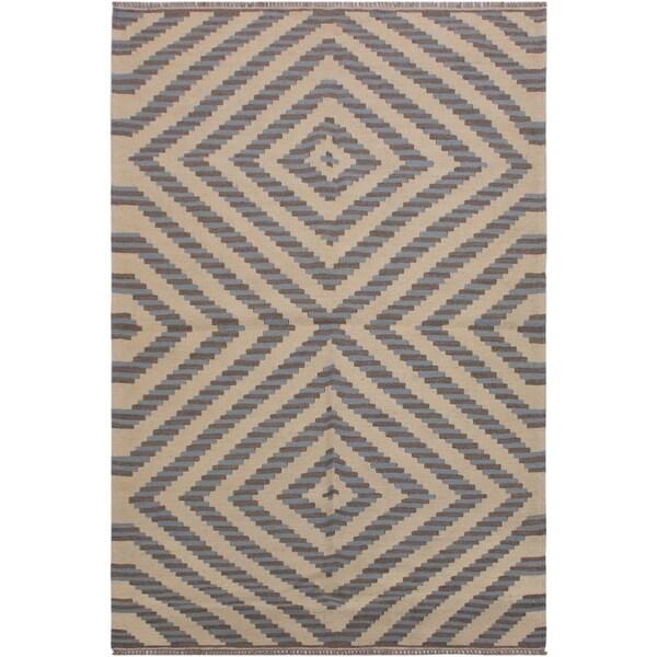 "Kilim Switzer Ivory/Grey Hand-Woven Wool Rug -4'4 x 6'0 - 4'4"" x 6'0"""