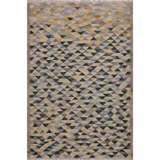 "Kilim Saldana Ivory/Green Hand-Woven Wool Rug -5'10 x 7'8 - 5'10"" x 7'8"""