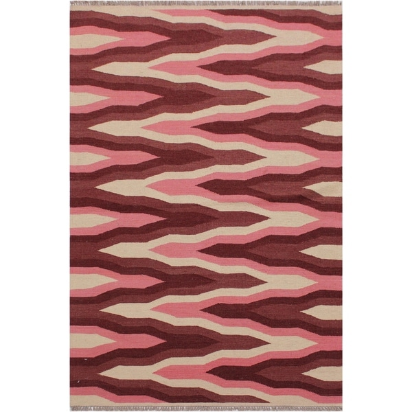 "Kilim Sallee Ivory/Red Hand-Woven Wool Rug -3'3 x 5'0 - 3'3"" x 5'0"""