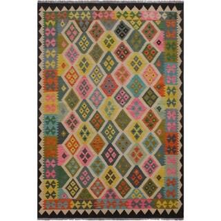 "Kilim Sandlin Black/Ivory Hand-Woven Wool Rug -5'9 x 8'0 - 5'9"" x 8'0"""