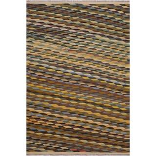 "Kilim Saavedra Ivory/Black Hand-Woven Wool Rug -6'0 x 8'2 - 6'0"" x 8'2"""