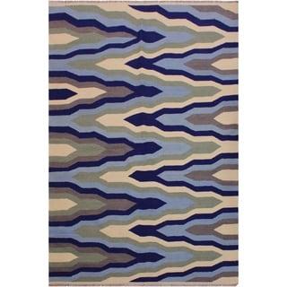 "Kilim Stiles Green/Ivory Hand-Woven Wool Rug -5'2 x 6'10 - 5'2"" x 6'10"""