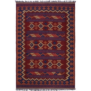 """kilim Marybell Red/Blue Hand-Woven Wool Rug(4'11 x 6'8 - 4'11"""" x 6'8"""""""