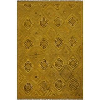 "Kilim Carlota Yellow/Brown Hand-Woven Wool Rug -5'9 x 8'4 - 5'9"" x 8'4"""