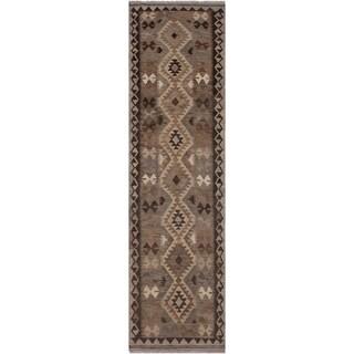 """Kilim Beulah Gray/Chocolate Hand-Woven Wool Runner- 2'8 x 9'11 - 2'8"""" x 9'11"""""""