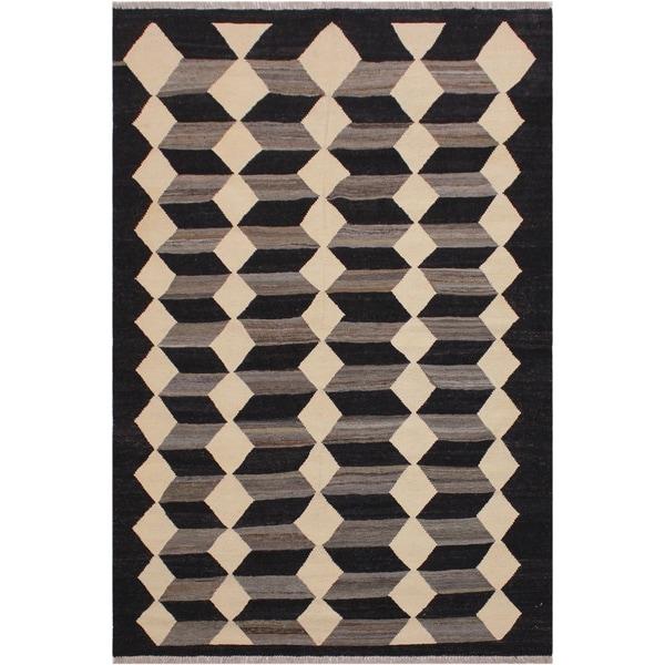 "Kilim Simons Black/Ivory Hand-Woven Wool Rug -5'3 x 6'6 - 5'3"" x 6'6"""
